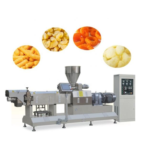 Double Screw Breakfast Cereal Corn Pellet Frying Choco Chips Pan Puff Snacks Cheese Ball Artificial Rice Soyabean Protein Bread Food Processing Making Machine #1 image